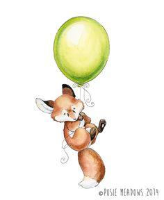 Flyaway Fox - Fox Watercolor Giclee Print, Original Artwork, Children's illustration, Nursery Wall Art
