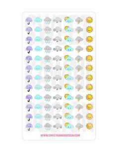 Itty Bitty Kawaii Weather Stickers