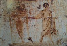 La resurreccion de Lazaro. Datada a finales del siglo III es una pintura mural ubicada en la catacumba de Pedro y Marcelino en Roma
