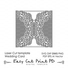 """Wedding invitation Pattern Card 66"""" Template Roses Lace folds (studio V3 svg dxf ai eps png pdf) laser paper die cut Silhouette Cameo"""