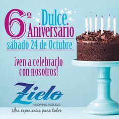 ¡¡Zielo Shopping Pozuelo celebra su 6º aniversario!! Ven y celebra con nosotros el sábado 24 de octubre su 6º aniversario.  Para ese día tan especial se han programado diferentes actividades para todos los públicos: magia, cuenta cuentos, coreografías aéreas y de suelo, candy bar de caramelos, fuentes de chocolate, cata de jamón y degustación de cócteles. ¡¡Ven a celebrarlo con nosotros!! bit.ly/ZieloSextoAniversario #Zielo #6ºAniversarioZielo