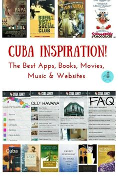 Cuba Inspiration: Best apps, books, movies, music and websites! If you're planning to visit Cuba any time soon, here some ideas to help prepare you for your trip and to offer some travel inspiration for whole family. We found these apps and books a great way to get excited about our trip and we've since discovered a number of excellent movies and music that will get you in the Cuba mood!
