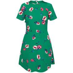 Emerald Green Floral Frill Back Tea Dress (2.145 RUB) via Polyvore featuring dresses, flutter-sleeve dresses, floral dresses, frilly dresses, floral print dress и green ruffle dress