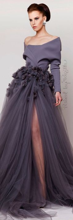 Azzi + Osta ~ Off the Shoulder Gown w Full Chiffon Skirt, 2015 jαɢlαdy