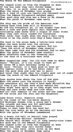 The Wreck of the Edmund Fitzgerald, full lyrics by Gordon Lightfoot. Great Song Lyrics, Music Lyrics, Music Quotes, Edmund Fitzgerald, The Distillers, Gordon Lightfoot, Great Lakes Ships, Mending A Broken Heart, Song Words