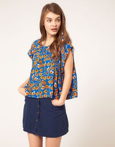 ASOS Top With Bright Floral Smudge Print
