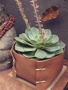 vaso grande para cactos e suculentas em couro feito artesanalmente