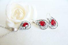teardrop jewelry art deco clear crystal red burgundy by sestras