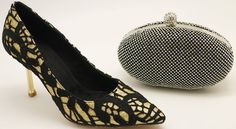 Black Lace Gold Glitter Pump Heel & Matching Clutch Bag Set