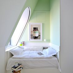 attic reading nook bedroom skyhouse nyc pale green attic. This size bedroom could be added by adding a shed roofed section to the side/back of a tiny house. The trick to making this appear so inviting and roomy is the extremely high ceiling and the window of course.