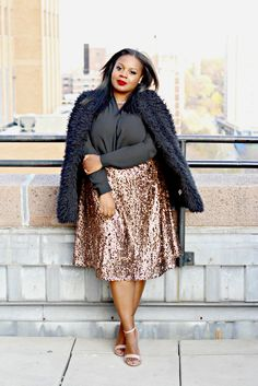 ava and viv sequin skirt, holiday fashion, plus size fashion, wrap blouse, fur gilet, fur vest