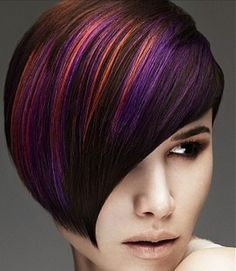Purple pink and orange but underneath auburn hair?