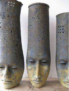 """Alasdair Neil MacDonell, """"Two Faced Head Pot"""", Sculpture, Ceramic, Cobalt & Iron Oxide under Stoneware Glaze Woah……"""