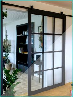 Sliding Black Glass Door Sliding Black Glass Door Caitlyn Rodriguez Home ideas Dyfa New York System sliding glass door with top track rail nbsp hellip Room Divider wall dividers Glass Barn Doors, Sliding Glass Door, Sliding Doors, Sliding Room Dividers, Wall Dividers, Room Divider Walls, Glass Room Divider, Room Doors, Interior Barn Doors