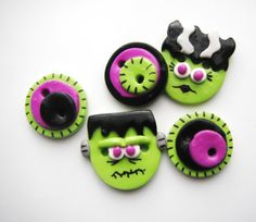Button Frank and Wife handmade polymer clay buttons ( 5 )