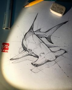 Hammerhead shark Create a WHUFC T Shirt from this idea and produce a screen print . Pencil Art Drawings, Art Drawings Sketches, Tattoo Drawings, Cool Drawings, Drawings Of Sharks, Animal Sketches, Animal Drawings, Hai Tattoos, Shark Drawing