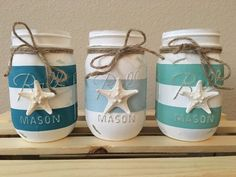 Set of 3 Painted Distressed Starfish Nautical Blue, Teal, and Mint Striped Mason…