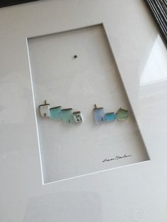 12 by 16 framed pebble and sea glass art by sharon от PebbleArt