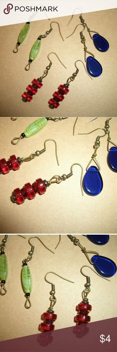 ¤FINISH THE LOOK¤ Earring Set /3 Piece Set Handmade / Set Of 3 / New... all glass beaded dangle styling... Jewelry Earrings