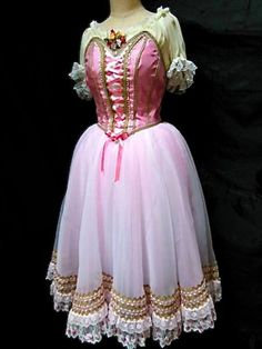 """A delightful pink Romantic tutu for the role of Teresina, in the ballet """"Napoli"""", but also perfect for """"Coppelia"""", """"La Fille Mal Gardee"""", """"Giselle"""" or """"La Vivandiere"""". This tutu features a pink silk s"""