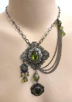 Absinthe Green Asymmetrical Vintage Necklace.