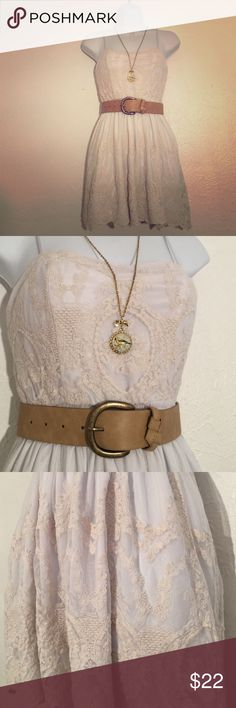 Urban Outfitters Cream & White Lace Dress Super cute white dress with cream lace overlay. Stretchy elastic waist band with 5 pearl-like button in the back. Looks amazing with a wide brown belt! (Belt & necklace is not included with the dress). Pins & Needles Dresses Mini