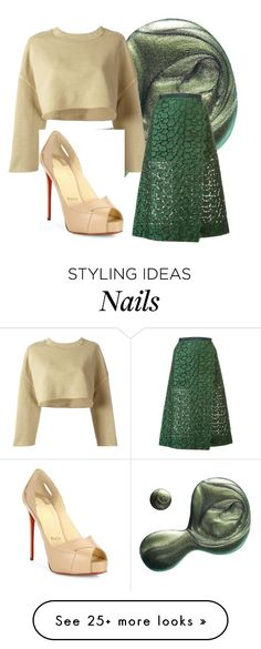 """Go green!"" by knithianandarajah on Polyvore featuring Illamasqua, adidas Originals, Sacai and Christian Louboutin"
