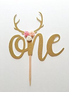 1 pc flower roses antler ONE bohemian tribal native Theme Gold Glitter Cake Topper for first Birthday Baby girl boy Party