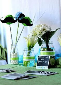centerpieces for baby shower mustache theme | Lime Green and Aqua Blue Camera Themed Baby Shower | Baby Lifestyles