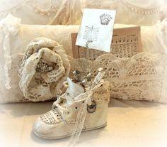 Altered Vintage Baby Shoe Picture Holder