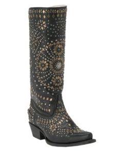 Johnny Ringo Women's Black Studelicious Snip Toe Western Boots