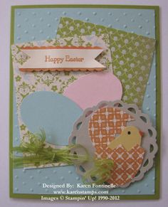 Stampin' Up! Sale-A-Bration Easter Card made with Everyday Enchantment paper and ribbon. Little chick made with Bird Builder Punch. Eggs made with Extra-Large Oval Punch.