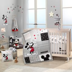 Bring a sweet and inviting look to your child's nursery with the Lambs & Ivy Magical Mickey Mouse Cotton Fitted Crib Sheet. Boasting a Mickey Mouse design in grey and white, this fitted sheet is fully elasticized for easy changing. Disney Baby Rooms, Disney Baby Nurseries, Disney Babys, Disney Nursery, Baby Boy Rooms, Baby Disney, Mickey Mouse Bett, Mickey Mouse Wall Decals, Mickey Mouse Nursery