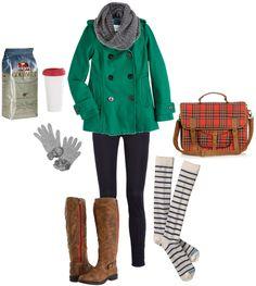 Wintery Plaid + Knee high socks.