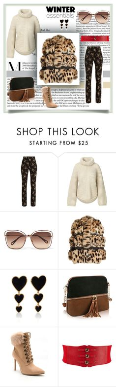 """Warm Winter Outfit"" by mkdetail ❤ liked on Polyvore featuring MSGM, Chloé, Roberto Cavalli, Edie Parker and Venus"