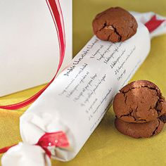 What a special way to gift-wrap your homemade cookies...print out the recipe on a large enough sheet where the cookies can then be rolled and tied at each end with colorful ribbons. Neat!
