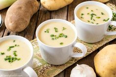 Potato Leek Soup combines Russet potatoes, fresh leeks, broth, and cream in a creamy, rich soup. Don't forget the fresh chives on top! Fresh Chives, Fresh Garlic, Onion Leeks, Homemade Chicken Stock, Soup Recipes, Healthy Recipes, Potato Leek Soup, Food Now, Easy Cooking