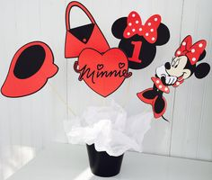 5 Piece Red Minnie Mouse Centerpiece Minnie by LuluBellaCreations