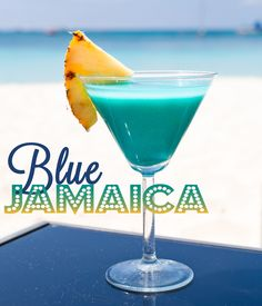 BLUE JAMAICA 2 ounces pineapple juice 1 ounce blue curacao 3 ounces champagne Pineapple slice  Pour champagne, add pineapple juice and blue curacao.