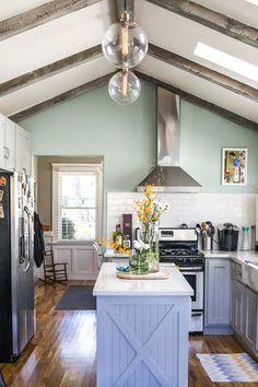 Great paint color, wood beams.  Jeff & Joseph's Silver Lake Bungalow — House Tour