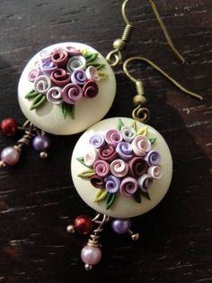 Pretty pink rose and leaf design dangly earrings by fizzyclaret Diy Fimo, Crea Fimo, Polymer Clay Kunst, Fimo Clay, Polymer Clay Projects, Polymer Clay Creations, Clay Beads, Polymer Clay Flowers, Polymer Clay Earrings