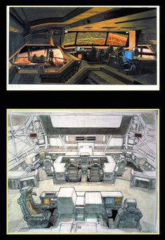 ALIEN - Ron Cobb, two early bridge designs. Whata Legend.