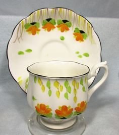 THIS IS A BEAUTIFUL CROWN CHINA, TEACUP AND SAUCER. THIS SET WAS MADE BY ROYAL ALBERT, OF FINE BONE CHINA, IN ENGLAND. THEY ARE IN A HAND PAINTED FLORAL PATTERN. THEY ARE IN EXCELLENT CONDITION, WITH NO CHIPS, CRACKS, OR CRAZING. | eBay!
