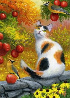 Calico cat waxwing birds apple trees autumn fall original aceo painting art #Realism Bridget Voth (Artist). Ebay ID star-filled-sky
