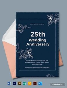 Instantly Download 25th Wedding Anniversary Invitations Template, Sample & Example in Microsoft Word (DOC), Adobe Photoshop (PSD), Adobe InDesign (INDD & IDML), Apple Pages, Microsoft Publisher, Adobe Illustrator (AI) Format. Available in 4x6, 5x7 Inches,+ Bleed. Quickly Customize. Easily Editable & Printable.