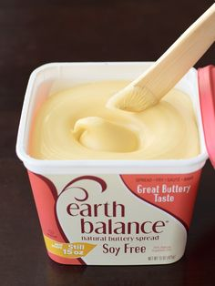 Earth Balance Buttery Spreads: A dairy-free and vegan staple (with 2 soy-free options!) that bakes, cooks, and spreads like margarine, but with natural ingredients and no hydrogenated oils Earth Balance Buttery Spreads Dairy Free Options, Dairy Free Recipes, Gluten Free, Vegan Recipes, Dairy Free Protein Shakes, Lactose Free Diet, Lactose Free Dairy Products, Lactose Free Butter, Dairy Free Margarine