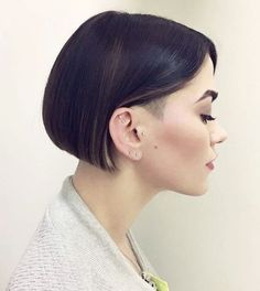 20 Cozy and Cute Sweater Weather Hair Ideas: #10: Futuristic Bob with a Shaved Temple
