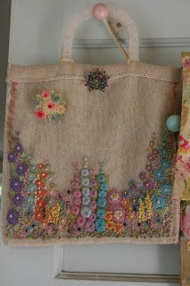 Nostalgia at the Stone House - wonderful embroidery work on a totebag.   Click to see her blog.