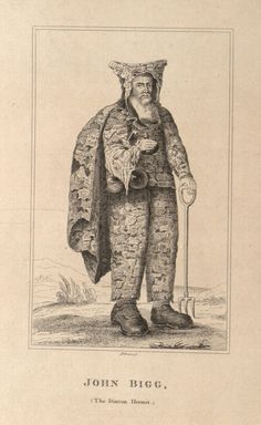 """John Bigg, the Dinton Hermit, baptized 22nd of April, 1629, buried 4th of April, 1696. He lived [..] in a cave, had been a man of tolerable wealth, was looked upon as a pretty good scholar, and of no contemptible parts. Upon the restoration he grew melancholy, betook himself to a recluse life, and lived by charity, but never asked for any thing but leather, which he would immediately nail to his clothes. He kept 3 bottles that hung to his girdle, viz. for strong and small beer, and milk…"