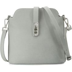 Charles Jourdan Phoebe Embossed Leather Crossbody Bag ($110) ❤ liked on Polyvore featuring bags, handbags, shoulder bags, grey, leather cross body handbags, embossed leather handbags, gray crossbody purse, grey leather purse and genuine leather handbags